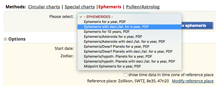 Ephemeris section