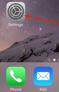 Settings on iPhone