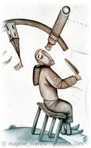 Astrologer watching the sky through a telescope, by Eugene Ivanov