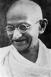 Portrait of Mohandas Gandhi (click to view image source)